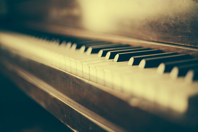 old, ageing piano for composing music